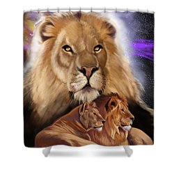 Shower Curtain featuring the painting Third In The Big Cat Series - Lion by Thomas J Herring
