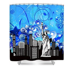 Big City Blues 4 Liberty Shower Curtain by Stanley Mathis