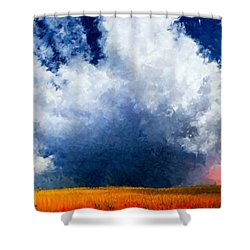 Shower Curtain featuring the painting Big Cloud In A Field by Bruce Nutting