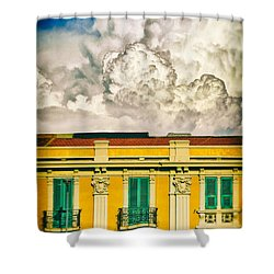 Shower Curtain featuring the photograph Big Cloud Over City Building by Silvia Ganora