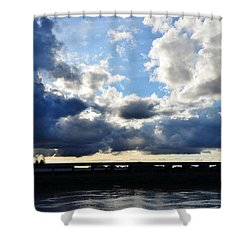 Big Clouds Over The River Shower Curtain