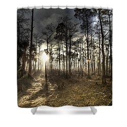 Big Cypress Fire At Sunset Shower Curtain