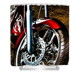 Shower Curtain featuring the photograph Big Dog Motorcycle Chrome Tire by Lesa Fine