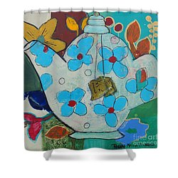 Big Floral Tea Pot Shower Curtain