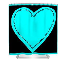 Big Heart 3 Turquoise Shower Curtain