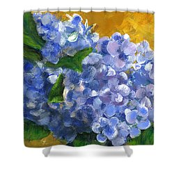 Big Hydrangeas In Little Black Vase Shower Curtain