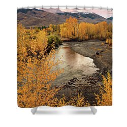 Big Lost River In Autumn Shower Curtain by Leland D Howard