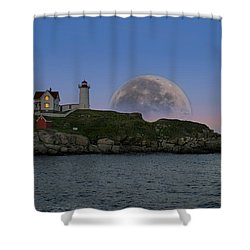 Big Moon Over Nubble Lighthouse Shower Curtain