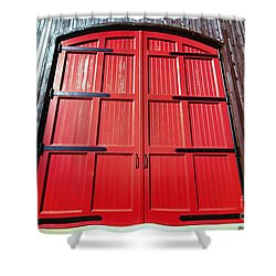Big Red Doors Shower Curtain by Cheryl Young