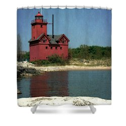 Big Red Holland Michigan Lighthouse Shower Curtain