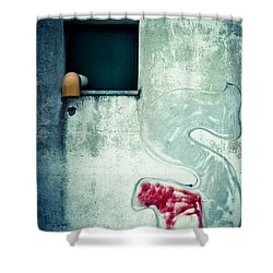 Big S With Window Pipe And Red Spray Shower Curtain by Silvia Ganora