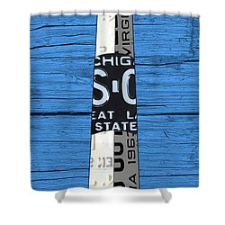 Big Sable Point Lighthouse Michigan Great Lakes License Plate Art Shower Curtain by Design Turnpike
