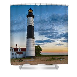 Shower Curtain featuring the photograph Big Sable Point Lighthouse Sunset by Sebastian Musial