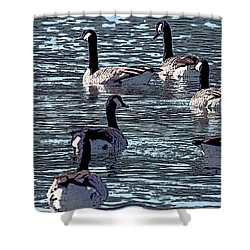Shower Curtain featuring the digital art Big Spring Goose Art I   by Lesa Fine