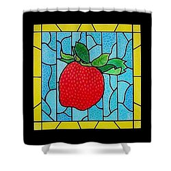 Big Stained Glass Strawberry Shower Curtain by Jim Harris