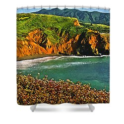 Big Sur California Coastline Shower Curtain by Bob and Nadine Johnston