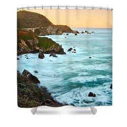 Big Sur Sunrise Shower Curtain by Jamie Pham