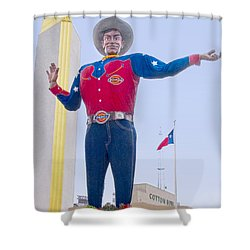 Big Tex And The Cotton Bowl  Shower Curtain by David and Carol Kelly