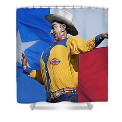 Big Tex And The Lone Star Flag Shower Curtain by David and Carol Kelly