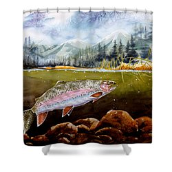 Big Thompson Trout Shower Curtain by Craig T Burgwardt