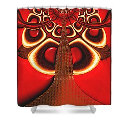 Shower Curtain featuring the digital art Big Tree From The Red Forest by Wendy J St Christopher