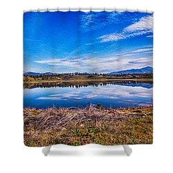 Big Twin Lake Shower Curtain by Omaste Witkowski
