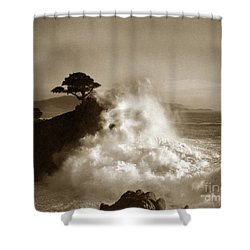 Big Wave Hitting The Lone Cypress Tree Pebble Beach California 1916 Shower Curtain