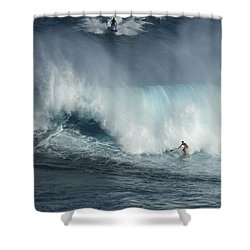 Big Wave Surfers Maui Shower Curtain by Bob Christopher