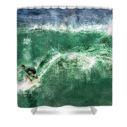 Big Wave Surfing Shower Curtain by Elaine Plesser