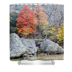 Bigtooth Maple And Rocks Fall Foliage Lost Maples Texas Hill Country Shower Curtain by Silvio Ligutti