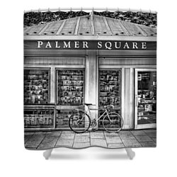 Bike At Palmer Square Book Store In Princeton Shower Curtain