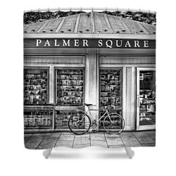 Bike At Palmer Square Book Store In Princeton Shower Curtain by Ben and Raisa Gertsberg