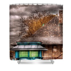 Bike - At The Train Station Shower Curtain by Mike Savad
