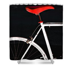 Bike In Black White And Red No 1 Shower Curtain by Ben and Raisa Gertsberg