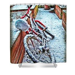 Bike In Winter Shower Curtain by Joan  Minchak