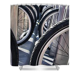 Shower Curtain featuring the photograph Bike Share Tires by John S