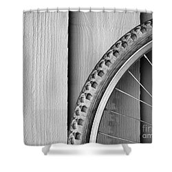 Bike Wheel Black And White Shower Curtain by Tim Hester