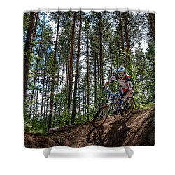 Biker On Trail Shower Curtain
