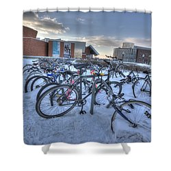 Bikes At University Of Minnesota  Shower Curtain by Amanda Stadther
