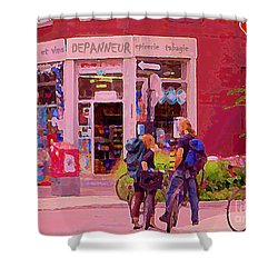 Bikes Backpacks And Cold Beer At The Local Corner Depanneur Montreal Summer City Scene  Shower Curtain by Carole Spandau
