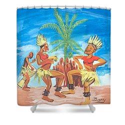 Bikutsi Dance 3 From Cameroon Shower Curtain by Emmanuel Baliyanga