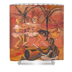 Bikutsi Dance From Cameroon Shower Curtain by Emmanuel Baliyanga