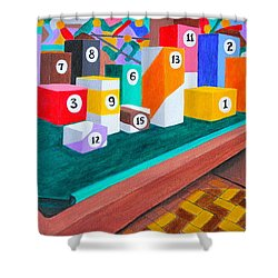Shower Curtain featuring the painting Billiard Table by Lorna Maza