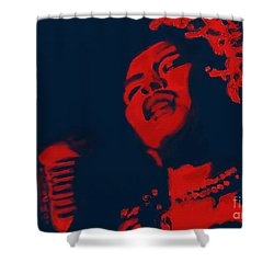Shower Curtain featuring the painting Billie Holiday by Vannetta Ferguson