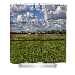 Billow Skies On Green Shower Curtain by Bill Tiepelman