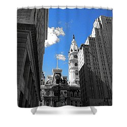 Shower Curtain featuring the photograph Billy Penn Blue by Photographic Arts And Design Studio