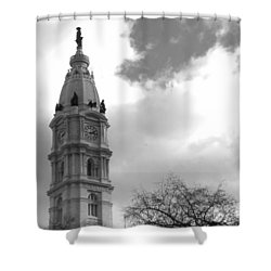 Billy Penn Vertical Bw Shower Curtain by Photographic Arts And Design Studio