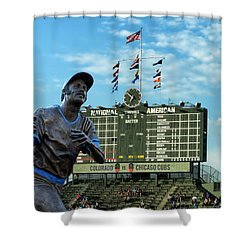 Billy Williams Chicago Cub Statue Shower Curtain by Thomas Woolworth
