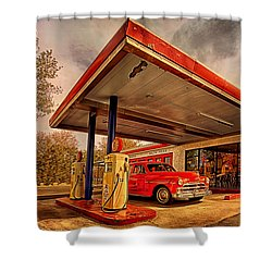 Bings Burger Station In Historic Old Town Cottonwood Arizona Shower Curtain by Priscilla Burgers