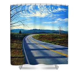 Birch Tree Along The Road Shower Curtain